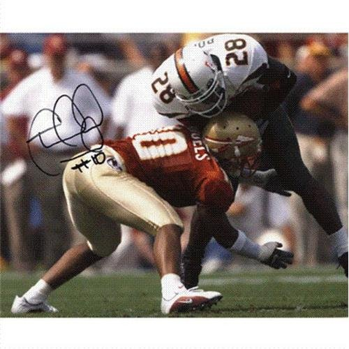 Florida Fsu Vs - Stanford Samuels Autographed Florida State FSU Seminoles (Horiz vs Miami) 8x10 Photo