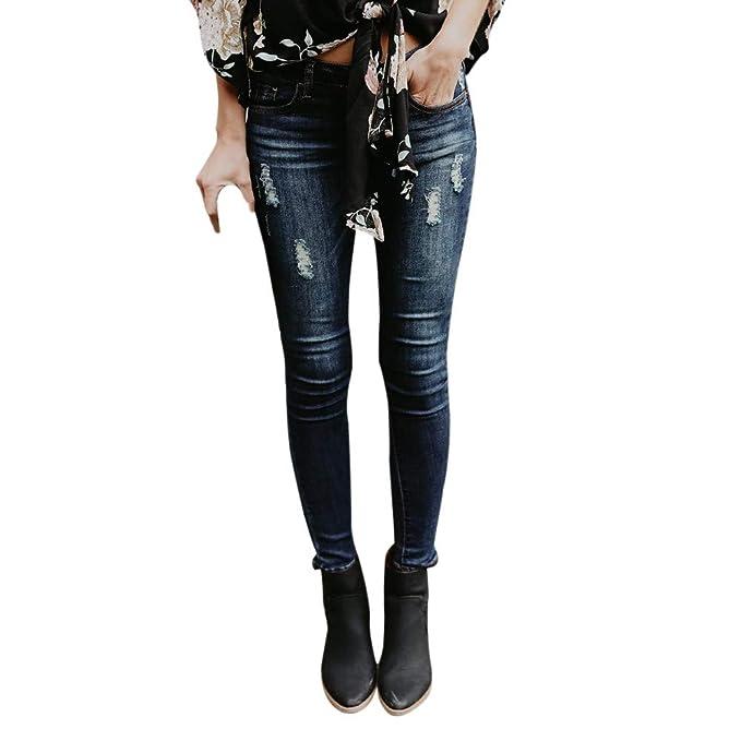 Gusspower Pantalones Vaqueros Largos Rotos, Retro Moda Jeans Mujer Elástico Flacos Vaqueros Leggings Push up Mezclilla Pantalones: Amazon.es: Ropa y ...
