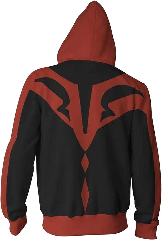 Men/'s Star Wars Darth Maul Cosplay Hooded Sweatshirt Jacket  Full Zip Up Hoodie