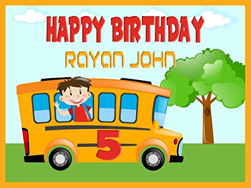 - Custom Home Décor School Bus Birthday Banner, Personalized back to school, kids decoration, school banner, Birthday Banner Wall Décor, Handmade Party Supply Poster Print Size 24x36, 48x24, 48x36