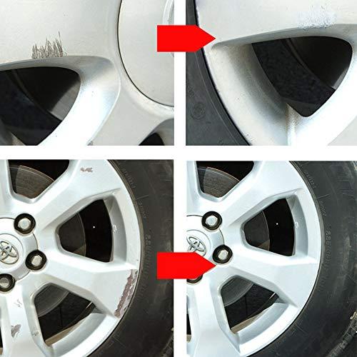 fengwen66 Car Wheel Scratch Repair Ritocco Penna in Lega di Alluminio Bianco Argento Ritocco Vernice Ruota Ricondizionata Penna Ruota Auto-Verniciata Argento e Bianco
