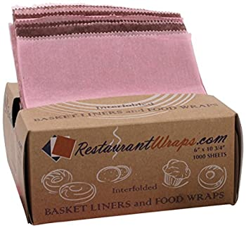 """RestaurantWraps.com Interfolded Waxed Tissue, Basket Liner and Food Wrap, 6"""" x 10.75"""", Mix Pack of Strawberry and Chocolate (10 Packs of 1000 Sheets)"""