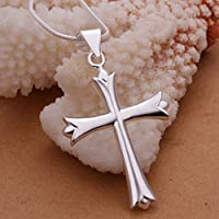 New Women 925 Sterling Silver Plated Cute Cross Pendant Necklace Chain Jewelry