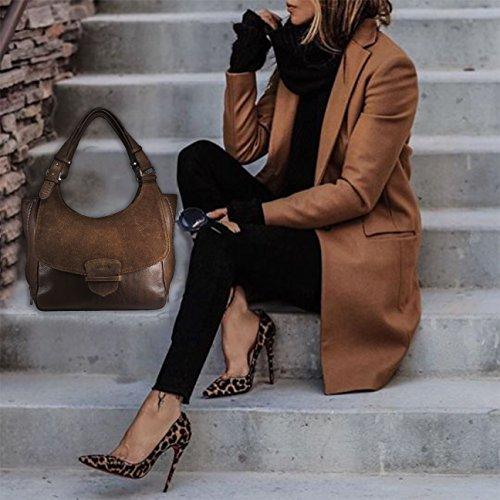 FERETI Donna Borsa Vera Pelle Marrone Tracolla Portafoglio Bag Made Italy Mano Leather Da Pochette Con Borsetta Nuovo Genuine Spalla