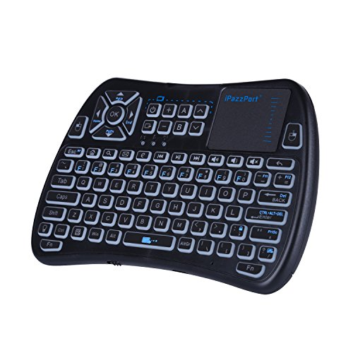 iPazzPort 2.4GHz RGB Backlit Mini Wireless Keyboard with Touchpad Mouse and IR Learning TV Remote Combo for Android TV Box, Nvidia Shield TV, Smart TV, Raspberry Pi, USB Keyboard Black KP-810-61 (Ipazzport Mini Wireless Keyboard With Mouse Touchpad Black)