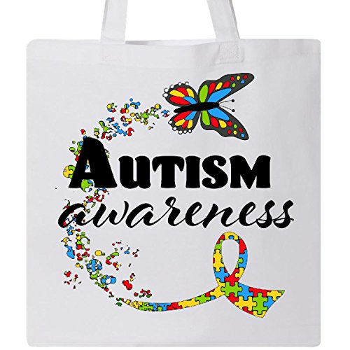 Inktastic - Autism Awareness Butterfly Ribbon Tote Bag White 2937b