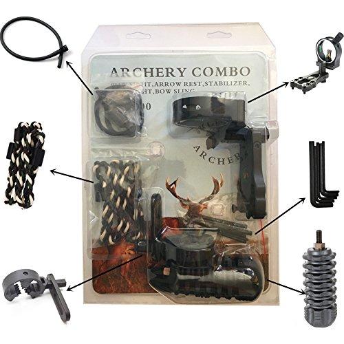 Bogenschießen Zubehör, 5-pin Bow Sight mit Level und Licht, Arrow Rest, Stabilisator,