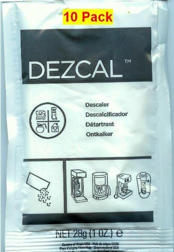 Urnex Dezcal Activated Scale Remover Powder, 28g (1 oz.), 10 Pack by Dezcal