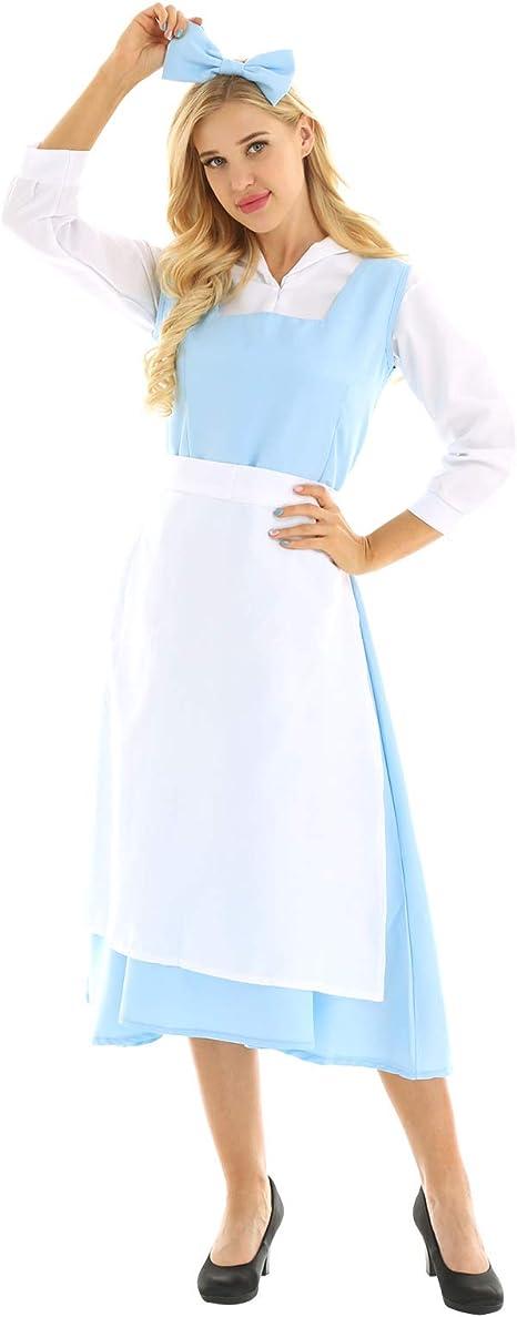 MSemis Vestido Princesa Azul para Mujer Chica Disfraz Bella y ...