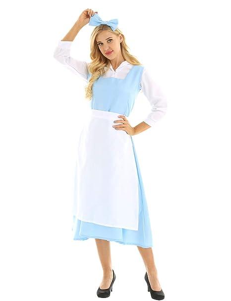 MSemis Vestido Princesa Azul para Mujer Chica Disfraz Bella ...