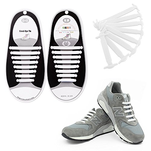 Talent Fashion Kids/Adults Multicolor Tieless Elastic Silicone No Tie Shoelaces Waterproof Rubber Flat Running Shoe Laces for Sneakers Board Shoes Casual Shoes and Boots Adult White