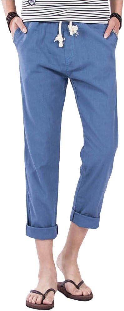 Pantalones para Hombres Cintura Elástica Algodón Ancho Pantalones Rectos Jogging Cómodo Chino Pantalón Denim Azul M: Amazon.es: Deportes y aire libre