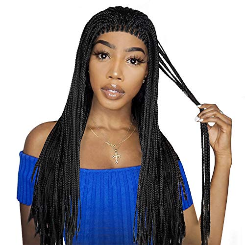 Black Braided Lace Front Wigs, LiyaHair, Fully Hand Tied Synthetic Soft Long Braids Hair Heat Resistant Wigs America Africa for Black Women with Baby Hair 18 inch