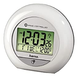 Hama Radio-Controlled Alarm Clock Rc 600 (with 2 Alarms, Thermometer, Calendar and Movement Sensor White