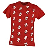 Nintendo Super Mario Bros Power Up Red Mushroom Tshirt All Over Print Tee XLarge