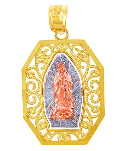 10 ct 471/1000 Or - La Dame de Guadalupe Trois Couleurs Or Pendentif