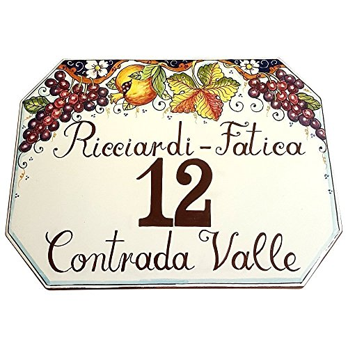 CERAMICHE D'ARTE PARRINI - Italian Ceramic Art Pottery Tile Custom House Number Civic Decorated Grape Hand Painted Made in ITALY Tuscan ()