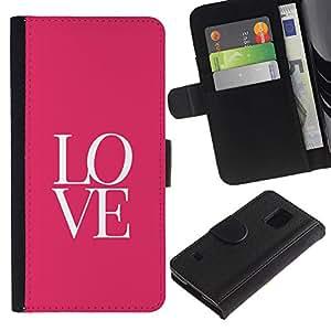 Paccase / Billetera de Cuero Caso del tirón Titular de la tarjeta Carcasa Funda para - Text Letters Pink Minimalist Valentines - Samsung Galaxy S5 V SM-G900