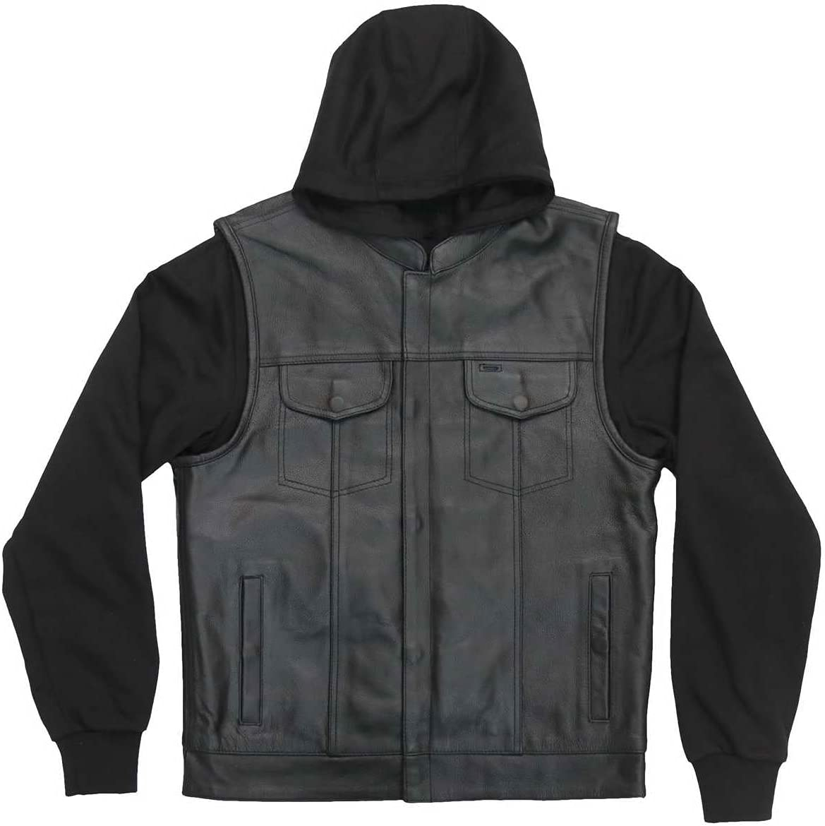 Hot Leathers VSM1202 Men's Black '2-in-1' Conceal and Carry Leather Vest with Hoodie - 3X-Large