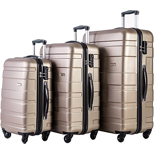 Merax MT Imagine Luggage Set 3 Piece Spinner Suitcase 20 24 28inch (Champagne Gold)