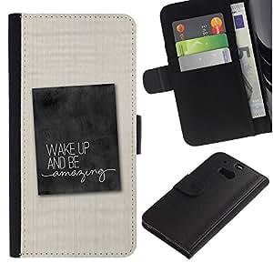 iBinBang / Flip Funda de Cuero Case Cover - Cita Consejos Tela texto - HTC One M8