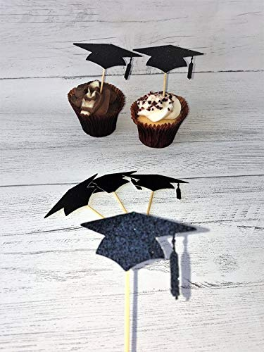 (WoodSign MarthaFox 12 Graduation Cap Cupcake Toppers. Mortar Board Picks. Grad Glitter Caps. Graduation Party Decor. Congratulations. Degree Well Done. Unfinished)