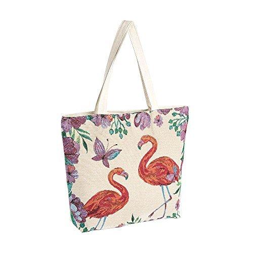 NEUF pour femme tribal patchwork SEQUIN toile imprimé bohème hippie bohémien Bandoulière Épaule Sac de plage - Plume Bleu, Large Flamingo crème