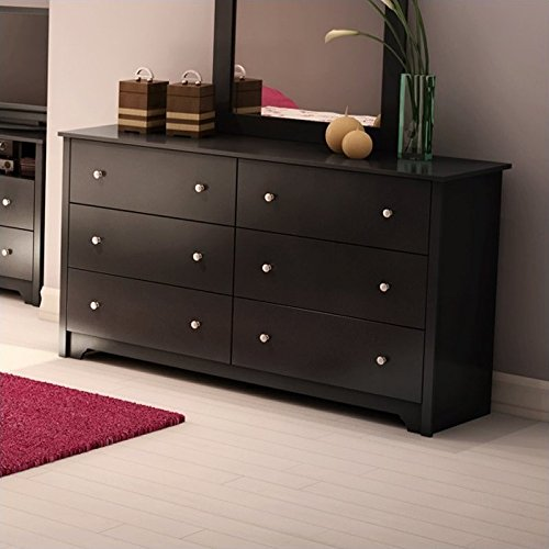 south shore vito collection 6-drawer double dresser, black