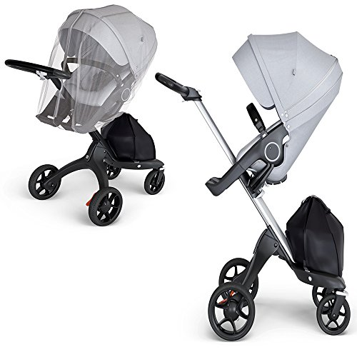 (Stokke Xplory V6 Silver Chassis Stroller with Black Leatherette Handle, Grey Melange with Mosquito Net)