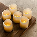 "Hayley Cherie® - LED Wax Candles with Timer (Set of 6) - Flameless 2"" x 2"" Ivory Candles - Flickering Amber Yellow Flame - Battery Operated - Wedding Decor, Parties, Gifts"