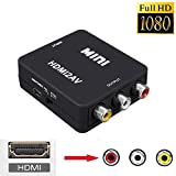NAMEO Mini Composite 1080P HDMI to RCA Audio Video AV CVBS Adapter Converter Supporting PAL/NTSC with USB Charge Cable for PC Laptop Xbox PS4 PS3 TV STB VHS VCR Camera DVD (Black)
