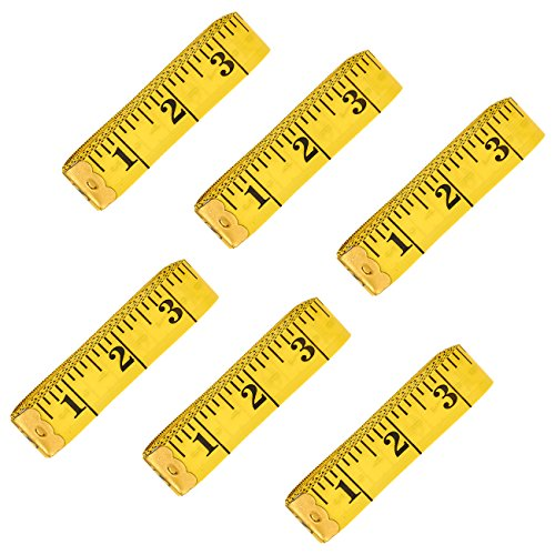 (120-Inch Extra Long Measuring Tapes - 6-Pack Soft Tailor Tape Measure, Double-Sided Sewing Tape, Yellow)