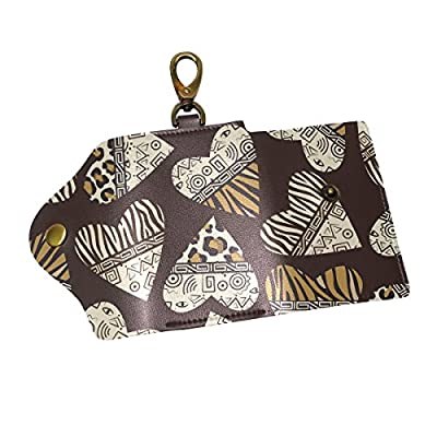 KEAKIA Stylish African Leapord Heart Leather Key Case Wallets Tri-fold Key Holder Keychains with 6 Hooks 2 Slot Snap Closure for Men Women