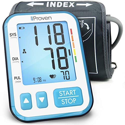 iProven Home Blood Pressure Monitor - Digital Blood Pressure Meter with Upper Arm Cuff - Large Screen with Backlight - 120-reading Memory (60x2 Users) - Batteries Included (Best Blood Pressure Monitor 2019)
