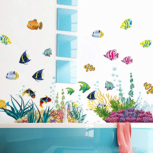 Best Choise Product DIY tropivsl Fish Nursery Room Wall Sticker Decor Removable Art Kids 3D Stickers for Bathroom Cartoon Undersea World