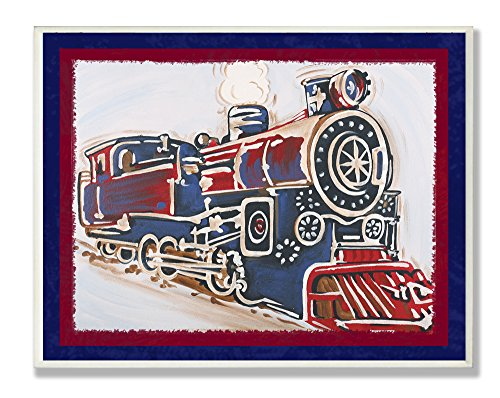 The Kids Room by Stupell Blue And Red Vintage Train Rectangle Wall Plaque, 11 x 0.5 x 15, Proudly Made in - Outlets In Ri