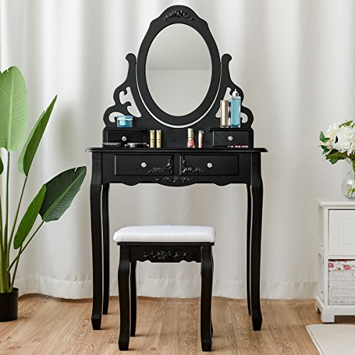 ing Table with Mirror and Stool, 360° Rotating Oval Makeup Mirror Classic Style Delicate Carved Cushioned Benches Wood Legs, Vanity Tables with Divided Drawers (Black) ()