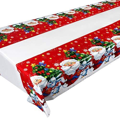 3pz 108cm*180cm Tovaglia Natale Tovaglie Natalizia Decorazione da Tavola Accessori Natalizi Festa a Tema Babbo Natale Albero di Natale