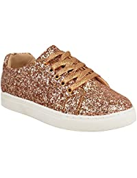 Fashion Thirsty Womens Flat Lace Up Glitter Sparkly Sneakers Trainers Plimsolls Shoes Size