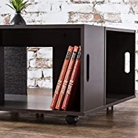 Contemporary Rustic, Square Coffee Table, Veneer Finish with Shelf Storage
