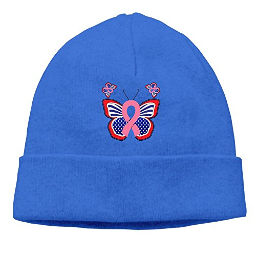 Dempery Breast Cancer Flag Butterfly Unisex Fashion Beanie Knit Hat Cap Colorkey