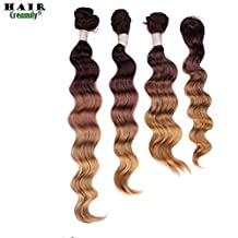 Creamily® #4/10/27(Dark Brown to Caramel Blonde) Top Closure Hair Piece (14'') Hair Bundles (14'' 16'' 18'') Loose Wave Weft Weave Extensions Three-tone Ombre Colors 4pcs All in One Pack Solution