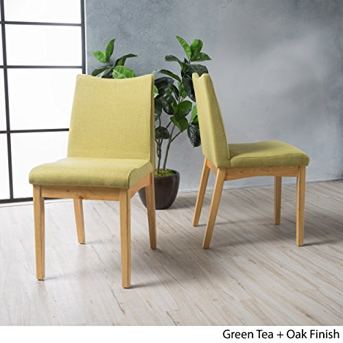 Green Tea Fabric (Gertrude Green Tea Fabric with Oak Finish Mid Century Modern Dining Chairs (Set of 2))