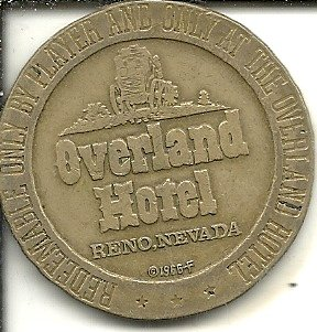 ($1 overland hotel casino gaming token coin reno nevada obsolete)