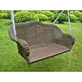 Patio outdoor wicker resin Porch Swing with Chain, all weather resistant, UV light fading protection +bonus scalp massage comb tool