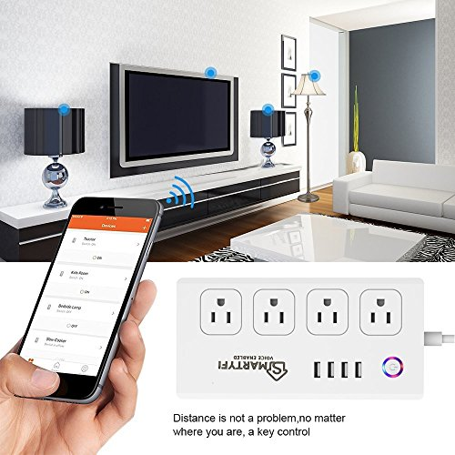 Smart Power Strip Works with Alexa and Google Home, SMARTYFI USB Power Strip and Smart Surge Protector, No Hub Required, Smart Life App, Multi Outlet Wifi Surge Protector with 4 AC and 4 USB Ports by SMARTYFI (Image #3)