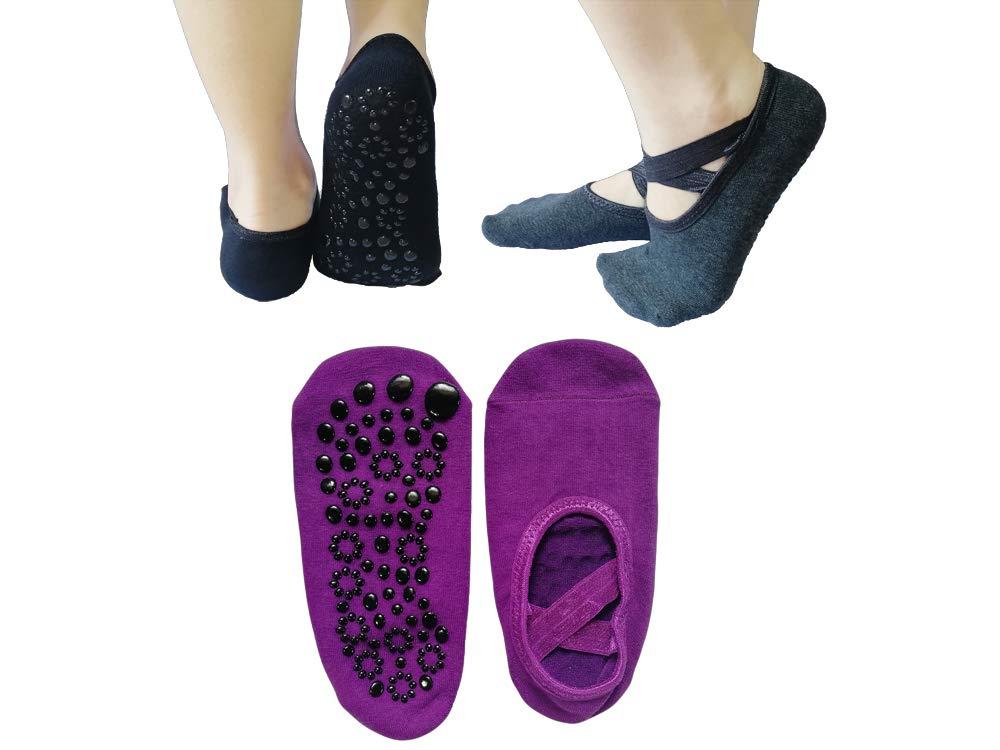 CC'S GIFT 3 Pairs Yoga Socks, Grip Non Slip Pilates Socks Breathable Sports Socks for Girl Women (Black, Purple and Grey) by CC'S GIFT