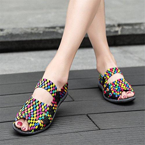 Women Fashion Shoes Slip Comfort Woven Lightweight Handmade Walking Black Sneakers On Shoes 995 FZDX AwRCqUxndq