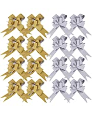 Wrapping Pull Bows, 20pcs Bouquet Draw Bow for Wedding Decoration and Gift Packaging (Glitter Gold, Glitter Silver)