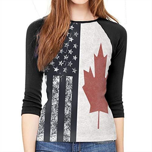Canada Baseball Jersey - YSPF Women's American Flag and Canada Flag Casual 3/4 Sleeve Baseball Tshirt Raglan Jersey Tees Black